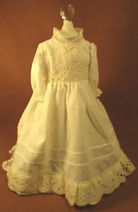 "Vintage Doll Dress for 17""-18"" Bisque Doll - Ivory Cotton w/Eyelet Lace"