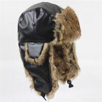 Bomber Pilot Cap Men Women Winter Aviator Faux Fur Earflap Trapper Windproof Hat