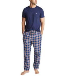 Nautica Men's   Pajama Pant and T-Shirt Set Navy Blue Plaid