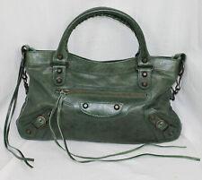Balenciaga Classic City Mini Leather Satchel Bag Dark Green Shoulder Strap Purse