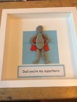 Pebble art picture Dad You're My Superhero - Perfect Fathers Day Present