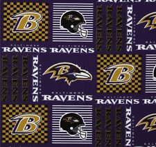 """NFL Baltimore Ravens Purple Patchwork Cotton Fabric By the Yard 60"""" Wide"""