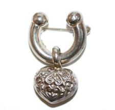 Vintage Sterling Silver 925 Lucky Horseshoe Heart Pin Brooch c. 1940's