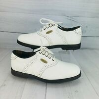 Footjoy Womens Soft-Joys Sierra White Brown Lace Up Golf Shoes Spike Size 7M