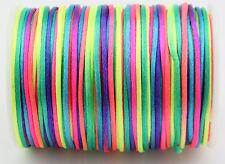 Rainbow 2MM Rattail Satin Cord Macrame Beading Nylon kumihimo String DIY 10ya