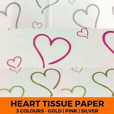 Printed Heart Acid Free Tissue Paper - Coloured Gift Wrapping Pattern Luxury