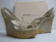 BCBGeneration BCBG Sz 10 M Rizza Cashew Leather Open Toe Wedges New Womens Shoes