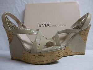 BCBGeneration BCBG Sz 10 M Rizza Cashew Leather Open Toe Wedges New Womens Shoes