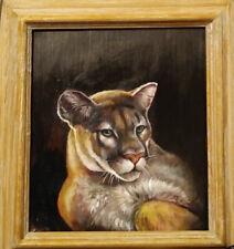 ORIGINAL COUGAR CAT PAINTING ART !!!