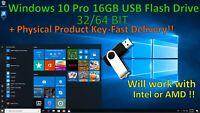 Microsoft Windows 10 Pro/Home on USB Flash Drive + Activation Key (32/64 Bit)