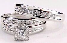 White Gold Men Women His Her Princess Cut Diamond Bridal Wedding Trio Ring Set