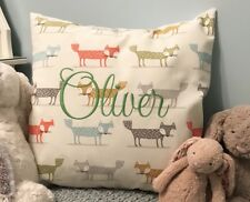 PERSONALISED Embroidered Cushion Cover Gift Fryetts Fox Fabric Girl Boy