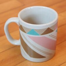 Vtg Southwestern Mug Geometric Turquoise Blue Pink Brown Southwest Coffee Mug