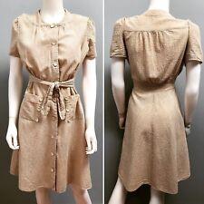VTG 1930s-40s SUMMER SEERSUCKER Cocoa-Stripe SWING DRESS w/POCKETS $95 Buy-Now