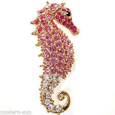 18K GP Robust Sea Horse Hippocamp Red-pink Crystal Rhinestone Pin Brooch B7273