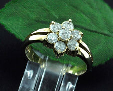 14k Solid Yellow Gold Star Cluster 1.00 ct ladies Natural Diamond Ring made USA