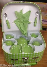 Just for Tea Set 13pcs GREEN CASE Picnic Pretend TOYS KIDS GIRLS NEW