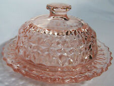 JEANNETTE GLASS CO. HOLIDAY BUTTONS & BOWS PINK BUTTER DISH & COVER!
