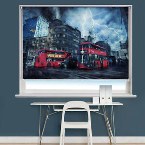 London Storm Scene Printed Picture Photo Roller Blind Blackout remote
