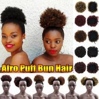 US Afro Puff Bun Ponytail Drawstring Wrap Synthetic Short Curly Hair Bun Chignon