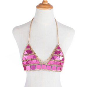 Women Crop Top Rose Red Triangle Sequin Bra Chain Summer Beach Body Jewelry