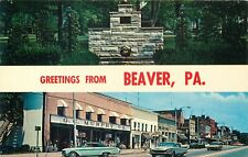 Greetings From Beaver Pennsylvania Vintage Street Scene Postcard