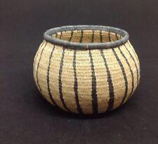 "Vintage WOUNAAN EMBERA Panama Native Indian Woven Basket Geometric Design 3.75""T"