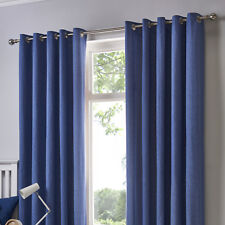 Fusion Sorbonne Simple Classic Cotton Eyelet Lined Pair Curtains Denim 66x90in