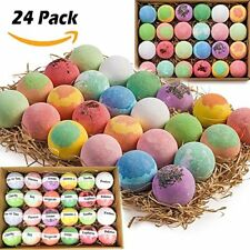 Gift Set of 24 Organic Bath Bombs Fizzies All Natural with Shea Cocoa Butter