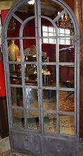 Glace / miroir fenêtre cintrée en fer forgé patiné marron façon rouillé