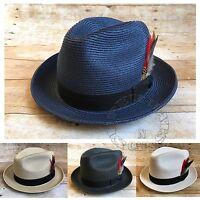 Mens Summer Poly Braid Straw Fedora Cuban Style Upturn Short Brim Hat