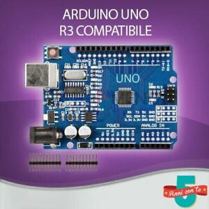 SCHEDA ARDUINO UNO R3 OEM COMPATIBILE CLONE ATMEGA328P + CAVO USB + ALIMENTATORE