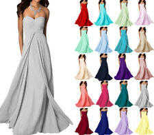 New Chiffon Long Formal  Strapless Ball Gown Party Evening Bridesmaid Prom Dress