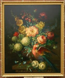 LARGE 19 th.Cen Antique Oil Painting STILL LIFE FLOWERS and a PARROT on a Shelf