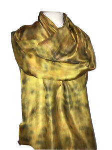 Long Silk Scarf In Golden 180 x 45 cm Hand Painted & Dyed Silk by Designer Silk