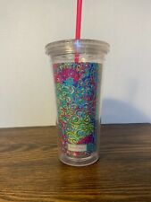 Lily Pulitzer Plastic Pink Straw Cup Travel Double Wall Cold
