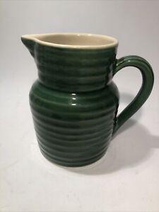 """Emile Henry Vintage Green 6 1/2"""" Ceramic Pitcher France"""