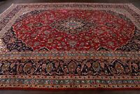 Vintage Traditional Floral Red Ardakan Area Rug Hand-Knotted Wool Carpet 9'x13'