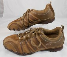 SKECHERS Womens Athletic Walking Shoes Sz 8 Leather Synthetic Lace Up Brown Tan