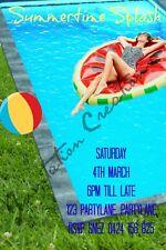 Diy Print Custom Pool Summertime Splash Birthday Party Invitations