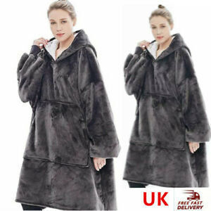 Fleece Blanket Oversized Hoodie Blanket Women/Mens Plush Blanket Sweatshirt UK