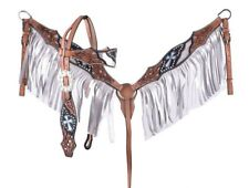 Showman Leather Headstall & Breast Collar Set w/ Metallic Silver & Teal Crosses!