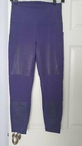 Lululemon Run Leggings High Rise Pants 25'' inseam Purple with Stripes Size 8
