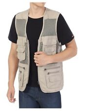 Men's Mesh Fishing Vest Photography Work Multi-Pockets Outdoors XLl W Khaki