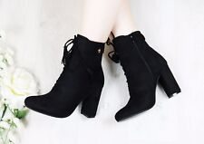 Ladies Ziped Ankle Boots Womens High Block Heel Lace Up Fringe Shoes Size Uk 3-8
