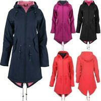 Women Solid Rain Jacket Outdoor Hoodie Waterproof Overcoat Windproof Long Coat