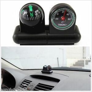 Black Portable 2in1 Car Interior Mini Compass + Temperature Meter For Honda CR-V