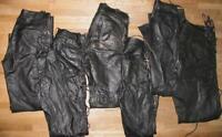 6x Schnür- LEDERJEANS / Lederhose (n) GLATTLEDER in schwarz verschiedene Größen