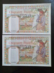 2 billets 50 FRANCS Algérie UNC 3-4-1945 numéros de séries consécutifs