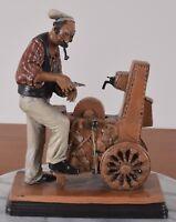 Redware Figurine Man Sharpening Knife Studio Art Pottery Signed Gipcobbe